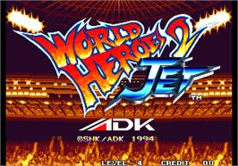 Title screen of World Heroes 2 Jet on the Arcade.