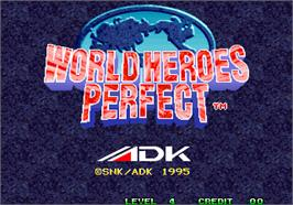 Title screen of World Heroes Perfect on the Arcade.