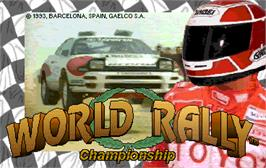 Title screen of World Rally on the Arcade.