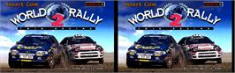 Title screen of World Rally 2: Twin Racing on the Arcade.