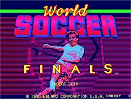 Title screen of World Soccer Finals on the Arcade.
