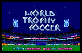 Title screen of World Trophy Soccer on the Arcade.