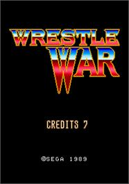 Title screen of Wrestle War on the Arcade.