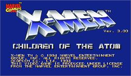 Title screen of X-Men: Children of the Atom on the Arcade.