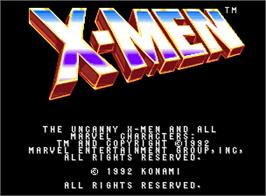 Title screen of X-Men on the Arcade.