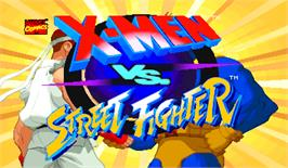 Title screen of X-Men Vs. Street Fighter on the Arcade.