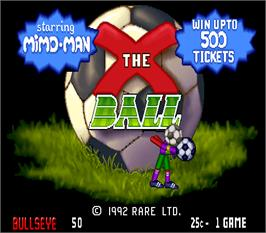 Title screen of X the Ball on the Arcade.