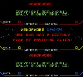 Title screen of Xenophobe on the Arcade.
