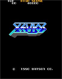 Title screen of Xevios on the Arcade.