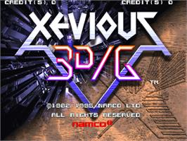 Title screen of Xevious 3D/G on the Arcade.