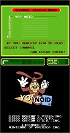 Title screen of Yo! Noid on the Arcade.