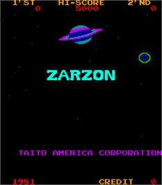 Title screen of Zarzon on the Arcade.