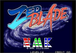 Title screen of Zed Blade / Operation Ragnarok on the Arcade.