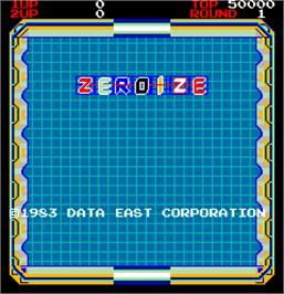 Title screen of Zeroize on the Arcade.