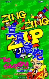 Title screen of Zing Zing Zip on the Arcade.