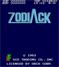Title screen of Zodiack on the Arcade.