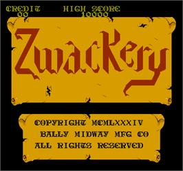 Title screen of Zwackery on the Arcade.