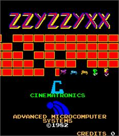 Title screen of Zzyzzyxx on the Arcade.