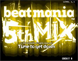Title screen of beatmania 5th MIX on the Arcade.