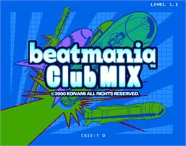 Title screen of beatmania Club MIX on the Arcade.