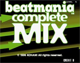 Title screen of beatmania complete MIX on the Arcade.