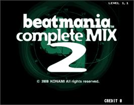 Title screen of beatmania complete MIX 2 on the Arcade.