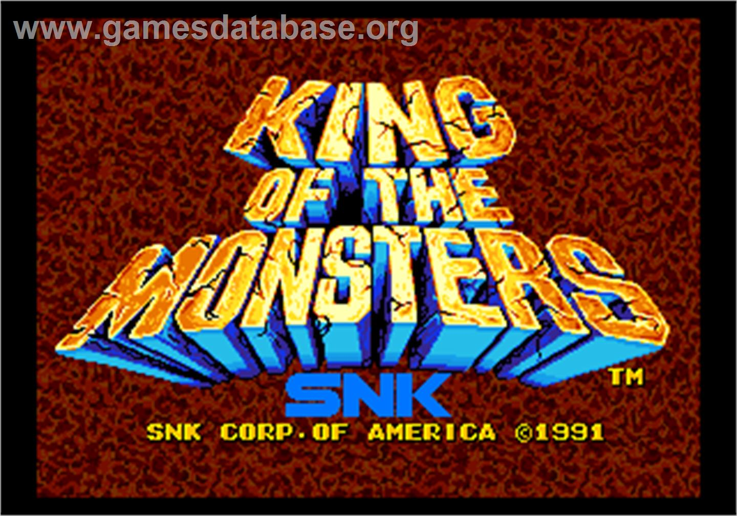 Title screen of King of the Monsters on the Arcade.