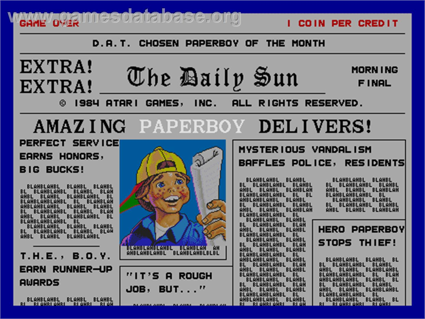 Paperboy - Arcade - Artwork - Title Screen