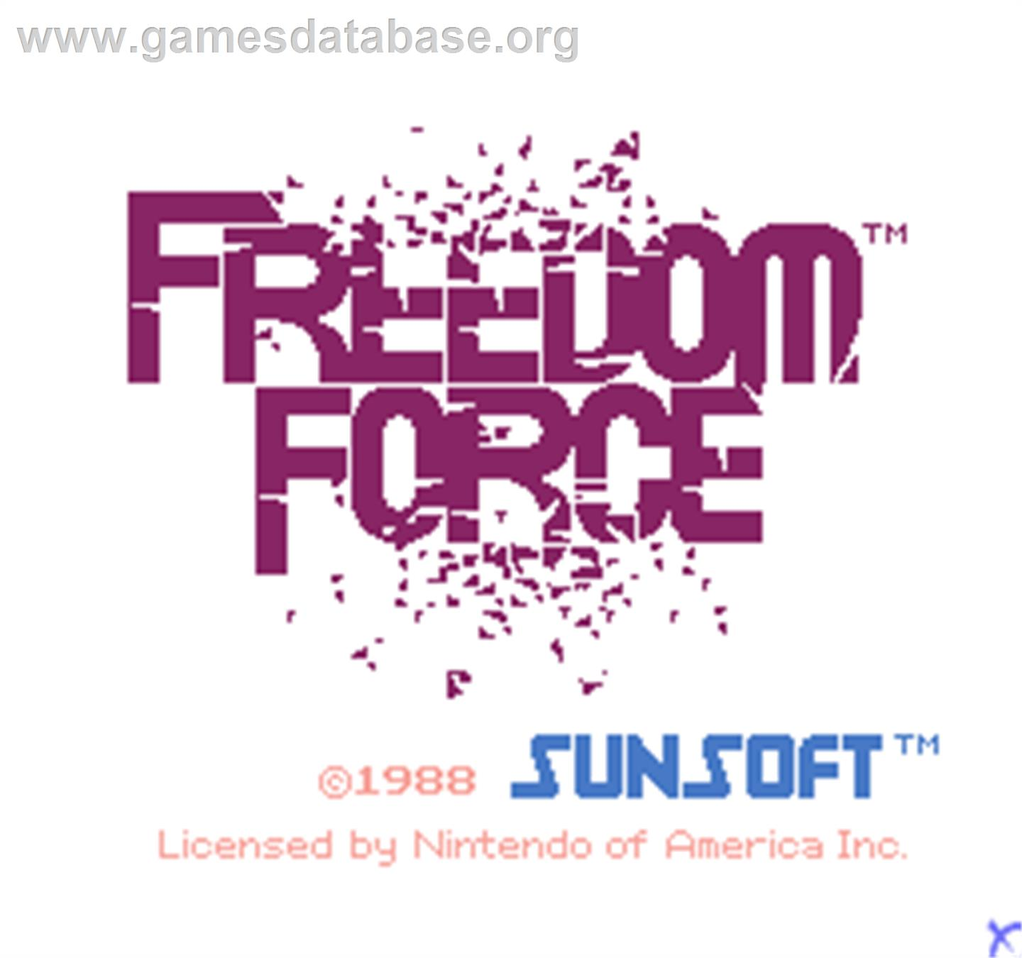 Vs. Freedom Force - Arcade - Artwork - Title Screen