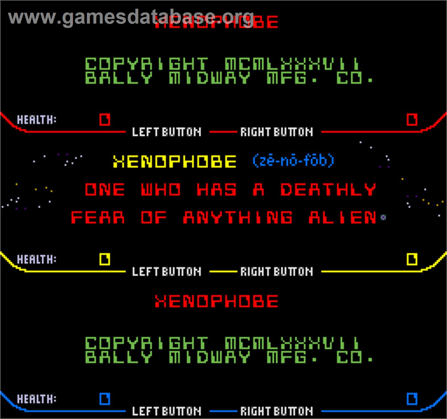 Xenophobe - Arcade - Artwork - Title Screen