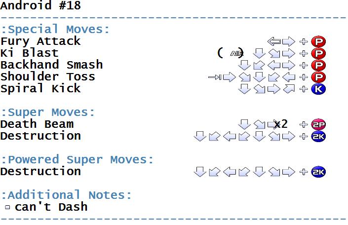 Dragonball Z 2 - Super Battle - Arcade - Commands/Moves