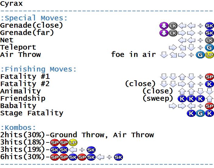 Ultimate Mortal Kombat 3 - Arcade - Commands/Moves - gamesdatabase org