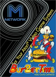 Box cover for BurgerTime on the Atari 2600.