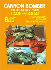 Box cover for Canyon Bomber on the Atari 2600.
