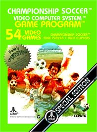 Box cover for Championship Soccer on the Atari 2600.
