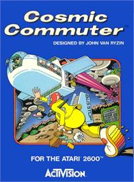 Box cover for Cosmic Commuter on the Atari 2600.