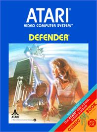 Box cover for Defender on the Atari 2600.