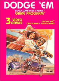 Box cover for Dodge 'Em on the Atari 2600.