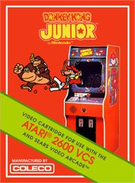 Box cover for Donkey Kong Junior on the Atari 2600.