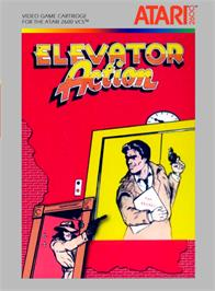 Box cover for Elevator Action on the Atari 2600.