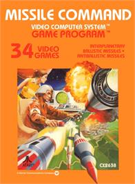 Box cover for Missile Command on the Atari 2600.