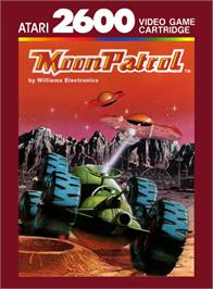 Box cover for Moon Patrol on the Atari 2600.