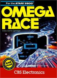 Box cover for Omega Race on the Atari 2600.