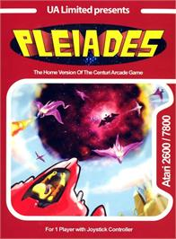 Box cover for Pleiades on the Atari 2600.
