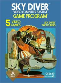 Box cover for Sky Diver on the Atari 2600.