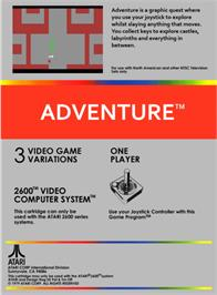 Box back cover for Adventure on the Atari 2600.