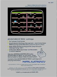 Box back cover for Adventures of Tron on the Atari 2600.