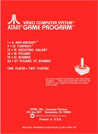 Box back cover for Air-Sea Battle on the Atari 2600.