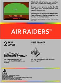 Box back cover for Air Raiders on the Atari 2600.