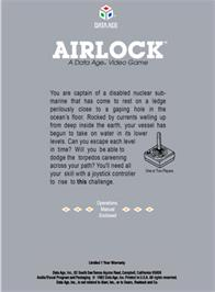 Box back cover for Airlock on the Atari 2600.